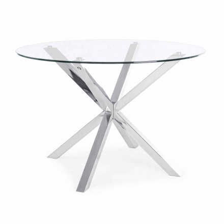 Homemotion Round Dining Table with Tempered Glass Top - Denda