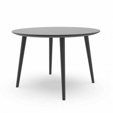 Round Garden Dining Table in White Aluminum or Charcoal - Sofy Talenti