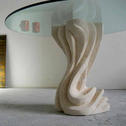 Round dining table made of Vicenza natural stone and crystal Cadmo