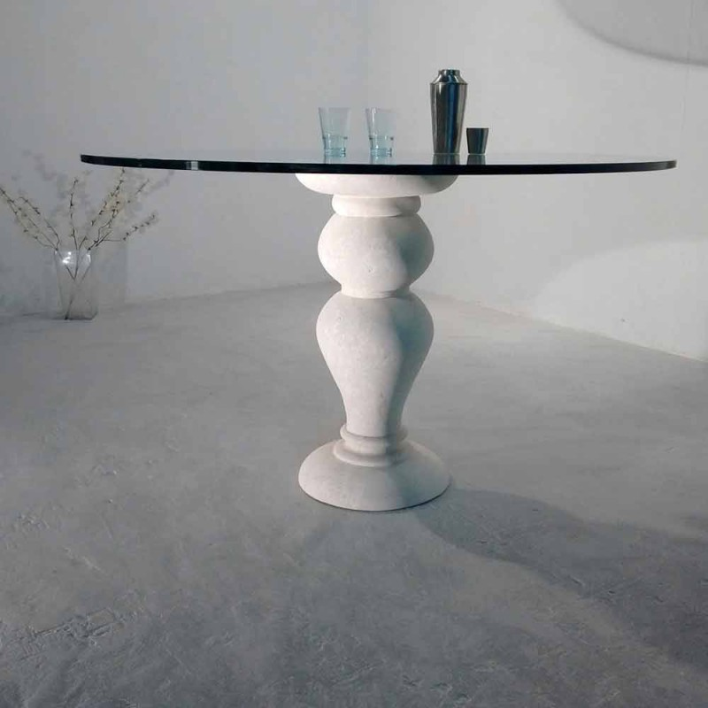 Round dining table in stone and crystal Oedipus, classic design
