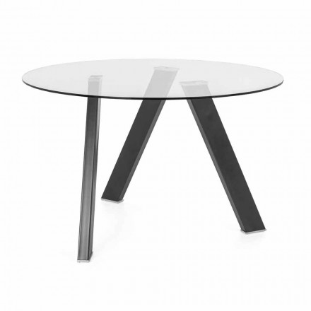 Round Dining Table Diameter 120 cm in Glass and Metal Design - Tonto