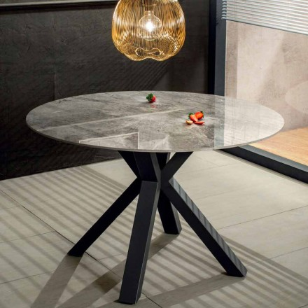 Modern Round Dining Table in Ceramic Marble Effect and Metal - Jarvis