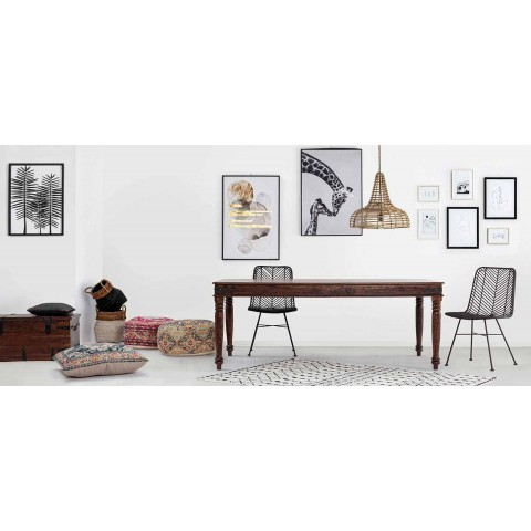 Classic Style Dining Table in Solid Acacia Wood Homemotion - Pitta