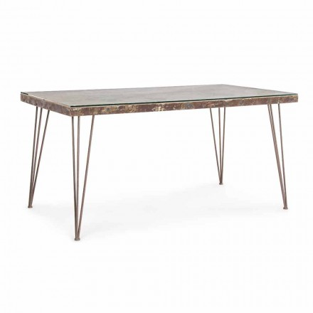 Industrial Style Dining Table with Top in Mdf and Glass Homemotion - Brasil