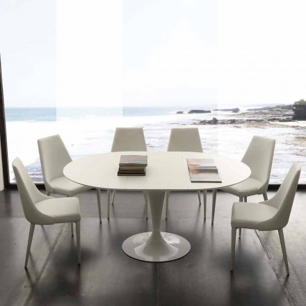 Round dining table extendable up to 170 cm Topeka, modern design