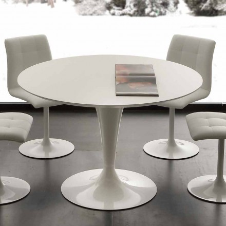 Modern round table with white lacquered top or laminate Topeka