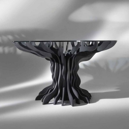 Modern round dining table Cassia with black wood base and crystal top