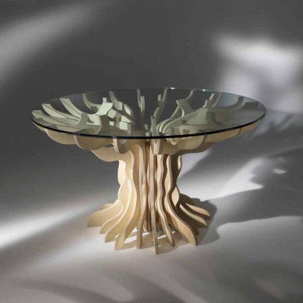Round dining table made of wood with tempered crystal top Cassia