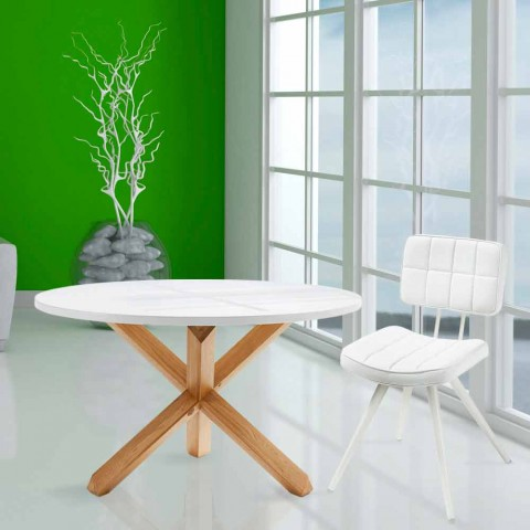 Round wood dining table Lola, white top