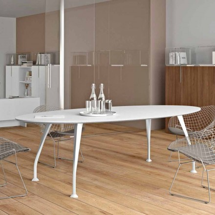 Oval meeting table Della Rovere Segno, made of white melamine