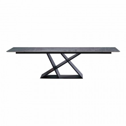 Luxury Extendable Table Up to 294 cm with Stoneware Top Made in Italy - Cirio