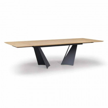 Extendable Design Table Up to 294 cm in Wood and Metal Made in Italy - Nuzzo