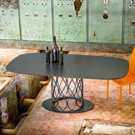 Modern dining table made of grey laquered MDF 100x200 cm Nora