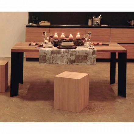 Modern design table in natural walnut wood, L180xP90cm, Yvonne