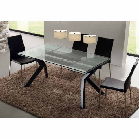 Mesa extendable design table in metal and tempered glass