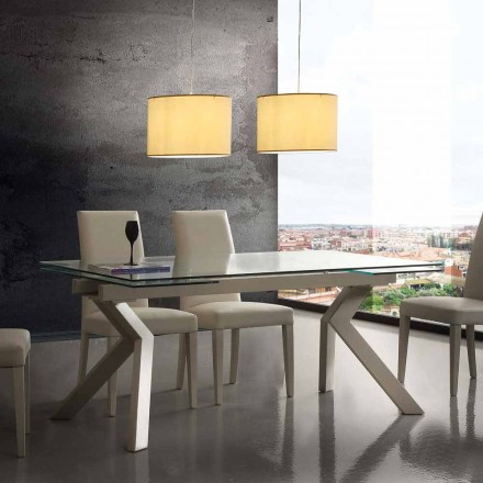 Modern extending table Mesa, made of metal and tempered glass