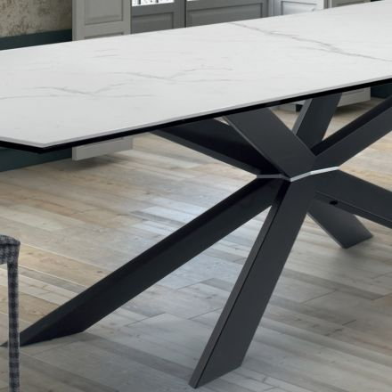 Kitchen Table of Design in Marble and Black Steel Made in Italy – Grotta