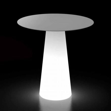 Outdoor Light Table with LED Light Base and Round Top Made in Italy - Forlina