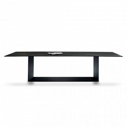 Design Table in Matt Noir Desir Ceramic and Metal Made in Italy - Dark Brown