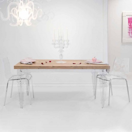 Design table in fir wood and plexiglass, produced in Italy, Castro