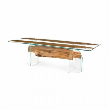 Rectangular table Venezia, made of Venice briccola wood and glass