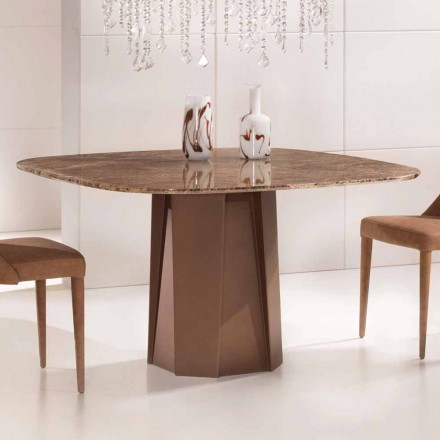 Design Table in Emperador Dark Marble 130x130 cm, Made in Italy – Nuvolento