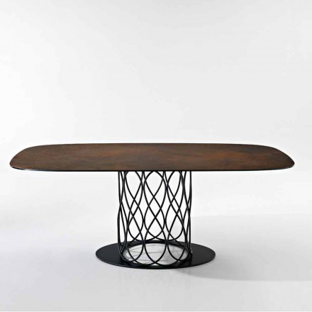 Design table in glass-ceramic and metal made in Italy, Nora
