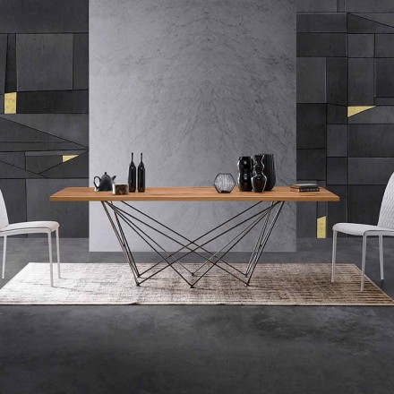 Modern design table with wooden top and a metal base, Esperia