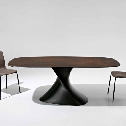 Modern design table in glass-ceramic made in Italy, Clark