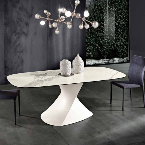 Modern Design Table In Glass Ceramic Made In Italy Clark