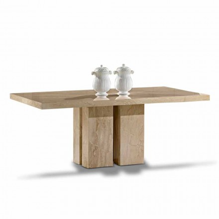 Luxury Table with Modern Design, Top in Daino Marble Made in Italy - Zarino