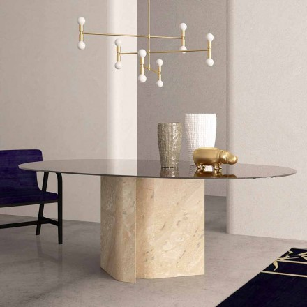 Elliptical Table in Crystal and Beige Coral Marble Made in Italy - Noccia