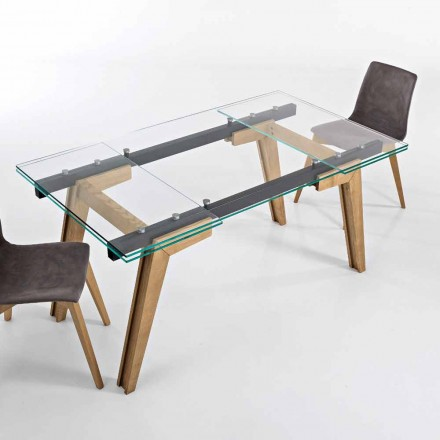 Extendable table in glass and solid wood made in Italy, Dimitri