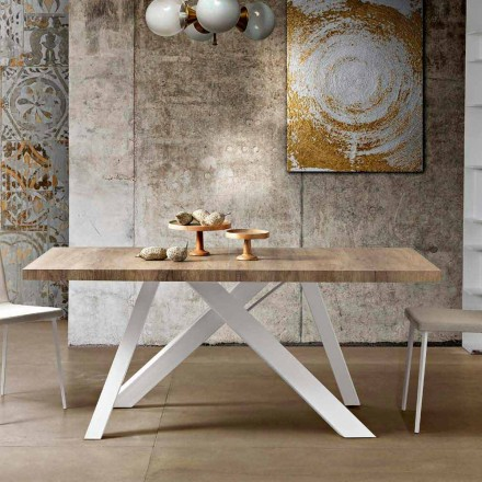 Modern extendable table in melamine wood made in Italy, Wilmer