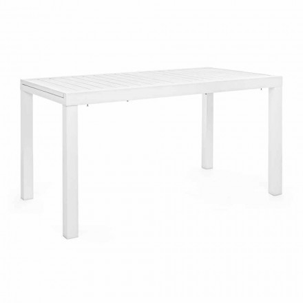 Extendable Garden Table Up to 240 cm in White or Turtledove Aluminum - Franz