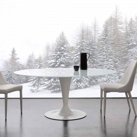 Modern table Aurora, made of extrawhite tempered glass and steel
