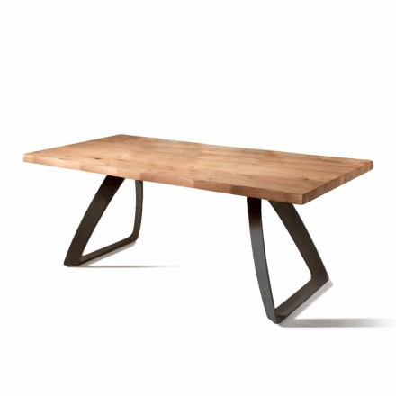 Fixed table Logan, with oak veneered top and black metal frame