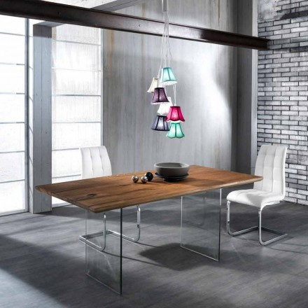 Modern design dining table Tito made of tempered glass and solid wood