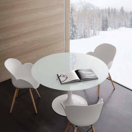 Round table Aurora, made of extrawhite tempered glass and steel