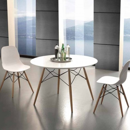 Round dining table Bilbao, solid beechwood and white laminated wood