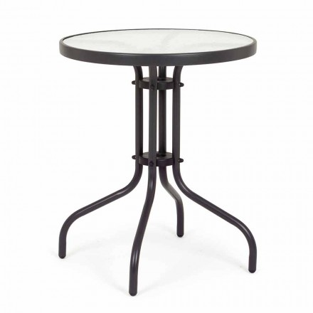 Round Steel Garden Table with Design Glass Top - Purizia