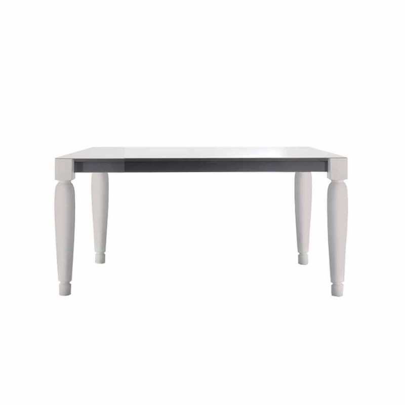 6 Seater Design Ceramic Table and White Wood Legs - Claudiano
