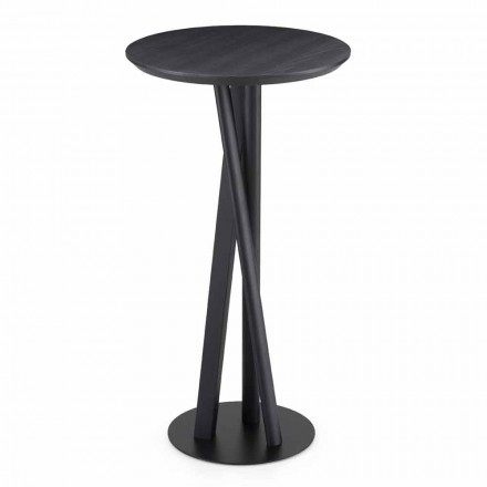 Solid Ash and Metal Table with Round Top Made in Italy - Baden