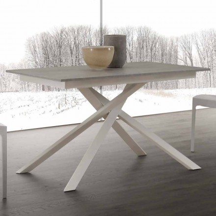 Extendable wooden table up to 190 cm, with crossed base, Lecce