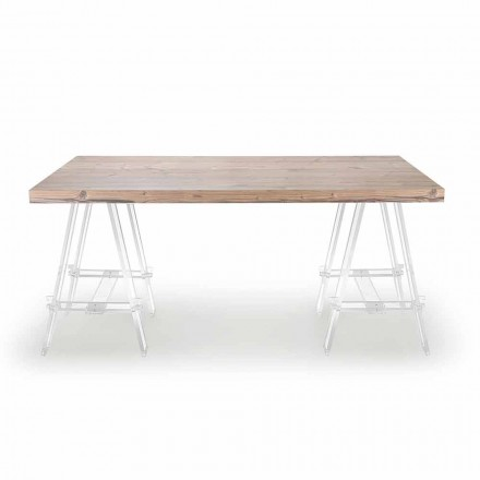 Wooden Table with Trestles in Plexiglass Made in Italy - Easel