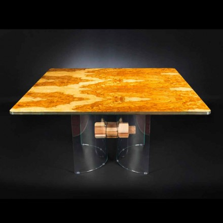 Square table Portofino, made of olive tree wood and glass
