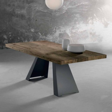 Design solid wood table made in Italy, Zerba