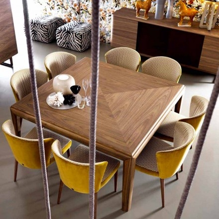 Grilli York square modern design solid wood table made in Italy