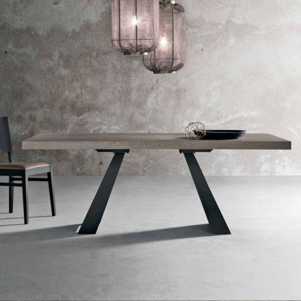 Modern table in knotted oak wood made in Italy, Zerba