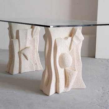 Stone table with modern design crystal top Priamo
